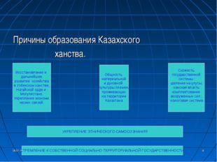 * * Причины образования Казахского ханства. Восстановление и дальнейшее разви