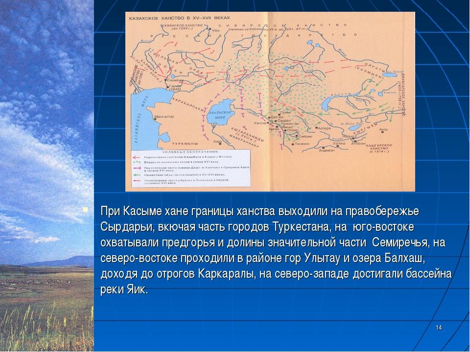 * * При Касыме хане границы ханства выходили на правобережье Сырдарьи, вкючая...