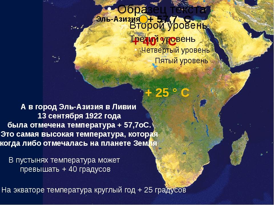 + 25 ° С На экваторе температура круглый год + 25 градусов В пустынях темпер...