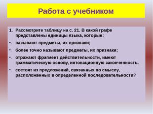 Работа с учебником Рассмотрите таблицу на с. 21. В какой графе представлены е