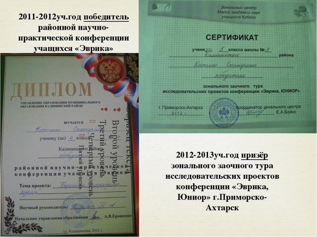 2012-2013уч.год призёр зонального заочного тура исследовательских проектов ко...