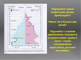Определите какая возрастная группа преобладает? Много ли в Казахстане детей?
