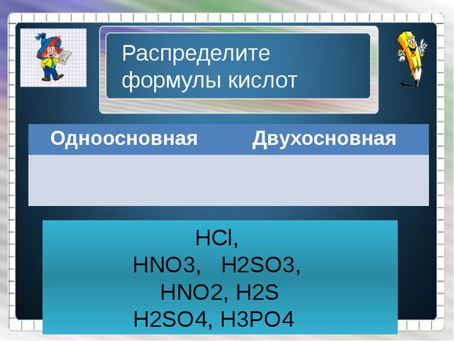 HCl, HNO3, H2SO3, HNO2, H2S H2SO4, H3PO4 Распределите формулы кислот Одноосн...