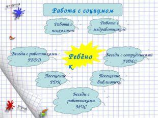 Работа с социумом Ребёнок Работа с психологом Работа с медработником Беседы с