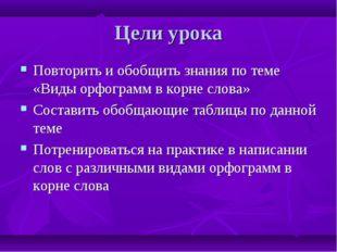 Цели урока Повторить и обобщить знания по теме «Виды орфограмм в корне слова»