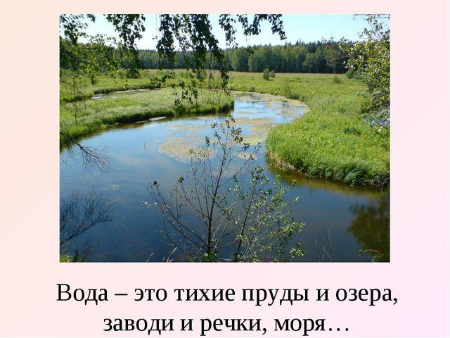 Вода – это тихие пруды и озера, заводи и речки, моря…