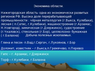 Экономика области. Нижегородская область- одна из экономически развитых реги
