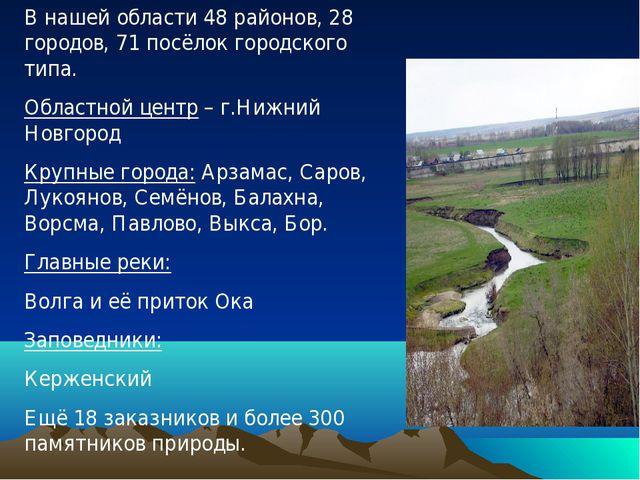 В нашей области 48 районов, 28 городов, 71 посёлок городского типа. Областной...