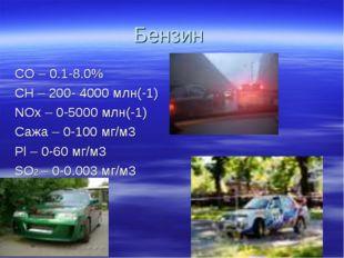 Бензин CO – 0.1-8.0% CH – 200- 4000 млн(-1) NOх – 0-5000 млн(-1) Сажа – 0-100