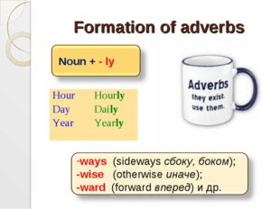 Formation of adverbs Hour Day Year	Hourly Daily Yearly