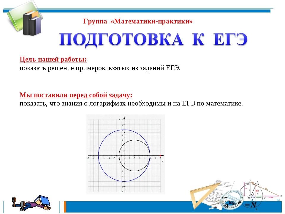 Группа «Математики-практики» Цель нашей работы: показать решение примеров, вз...