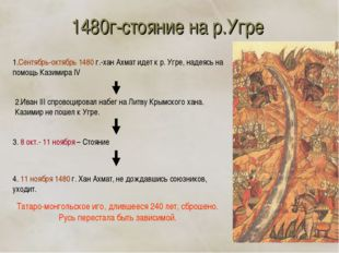1480г-стояние на р.Угре 1.Сентябрь-октябрь 1480 г.-хан Ахмат идет к р. Угре,