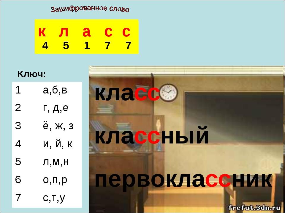 Ключ: к л а с с класс классный первоклассник  45177 1а,б,в 2г, д,е...