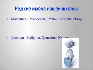 Редкие имена нашей школы: Мальчики - Мирослав, Степан, Георгий, Омар Девочки
