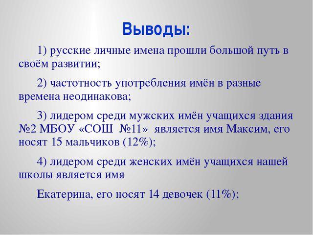 Выводы: 1) русские личные имена прошли большой путь в своём развитии; 2) част...