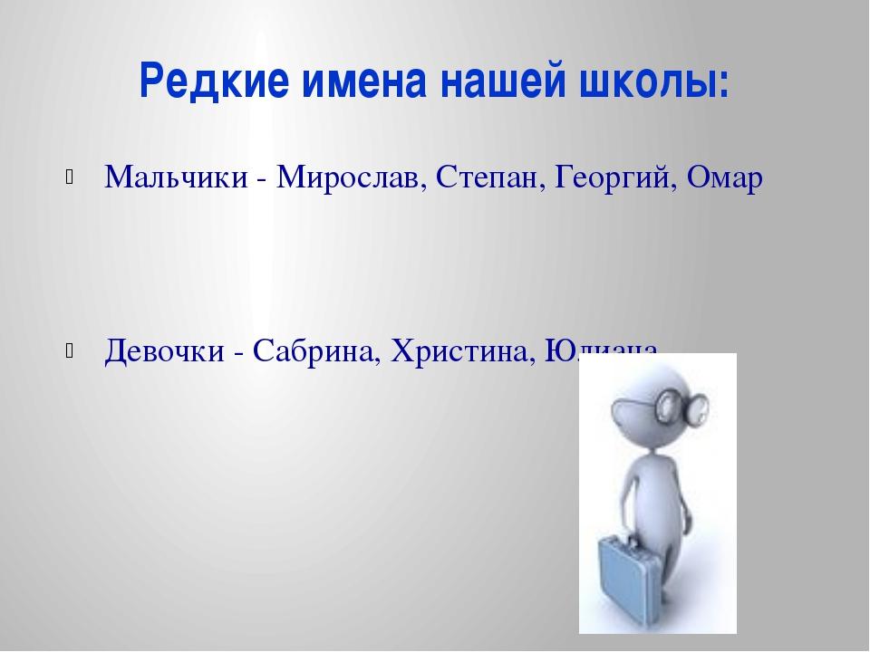 Редкие имена нашей школы: Мальчики - Мирослав, Степан, Георгий, Омар Девочки...