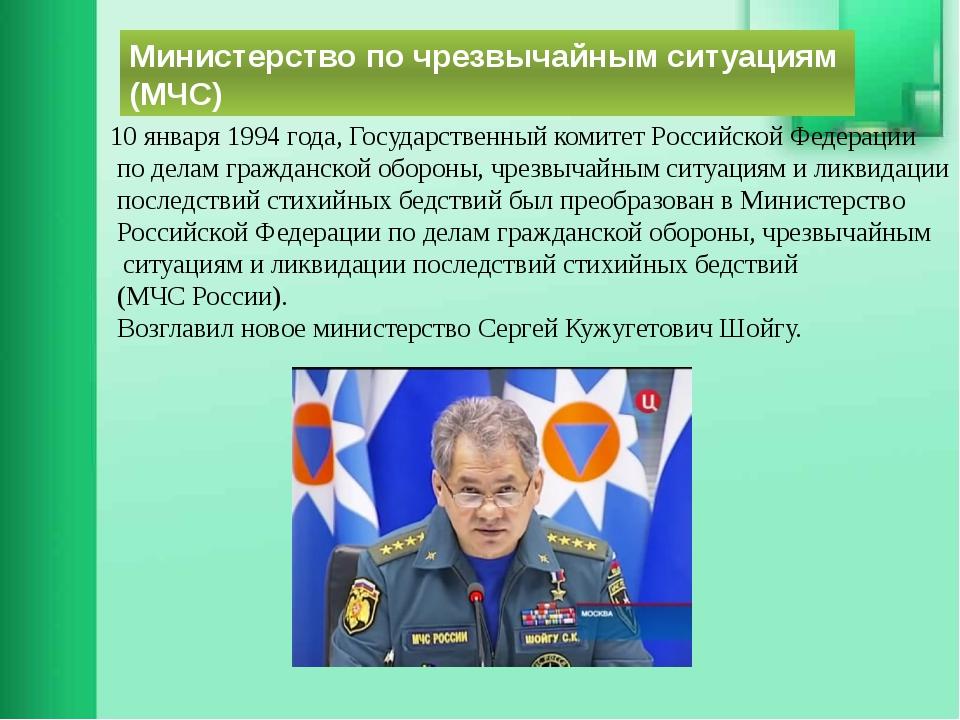 Министерство по чрезвычайным ситуациям (МЧС) 10 января 1994 года, Государстве...