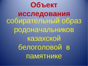 Объект исследования собирательный образ родоначальников казахской белоголовой