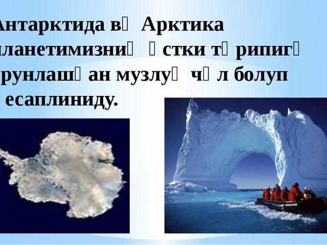 Антарктида вә Арктика планетимизниң үстки тәрипигә орунлашқан музлуқ чөл болу...