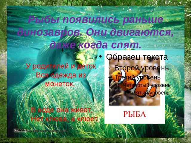 Рыбы появились раньше динозавров. Они двигаются, даже когда спят. У родителе...