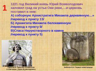 1 1221 год Великий князь Юрий Всеволодович заложил град на устье Оки реки,…и