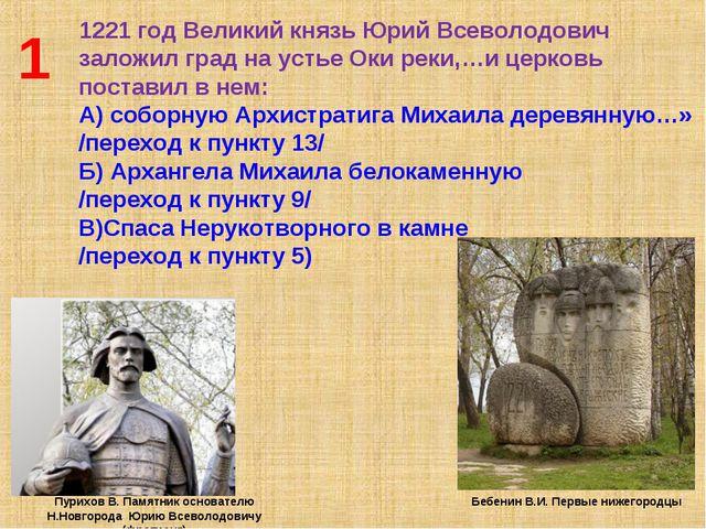 1 1221 год Великий князь Юрий Всеволодович заложил град на устье Оки реки,…и...