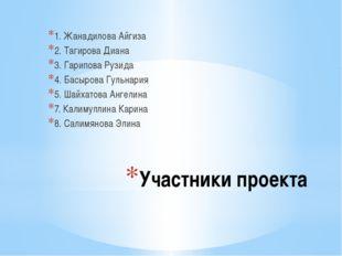 Участники проекта 1. Жанадилова Айгиза 2. Тагирова Диана 3. Гарипова Рузида 4