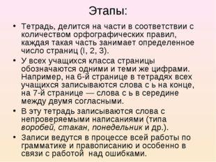 Этапы: Тетрадь, делится на части в соответствии с количеством орфографических