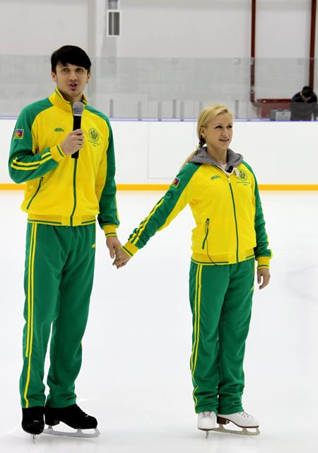 Максим Траньков и Татьяна Волосожар в форме сборной Краснодарского края