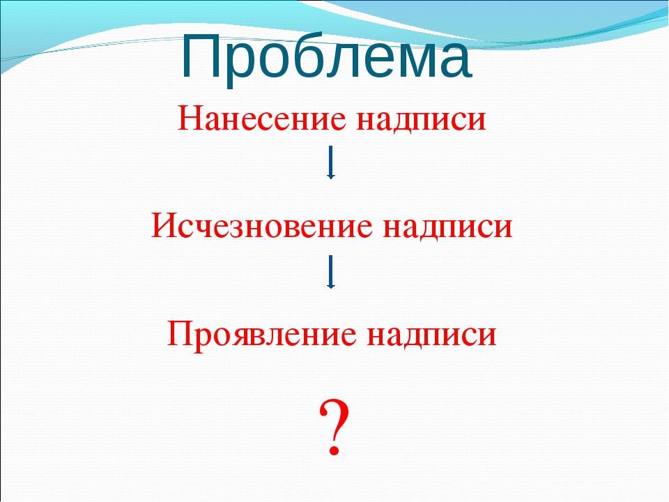 Проблема Нанесение надписи Исчезновение надписи Проявление надписи ?