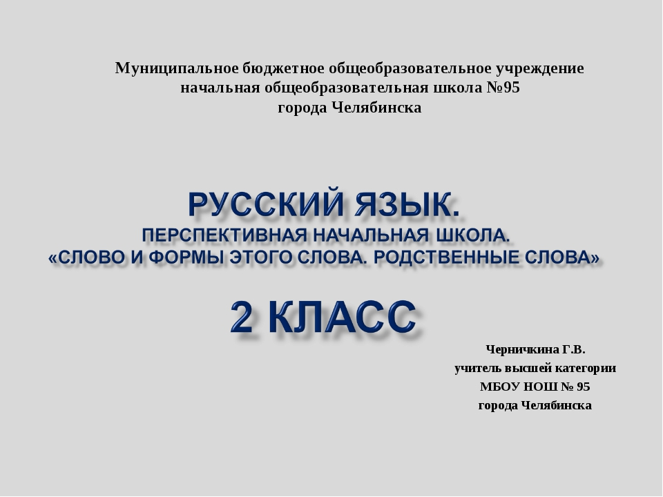 Черничкина Г.В. учитель высшей категории МБОУ НОШ № 95 города Челябинска Муни...
