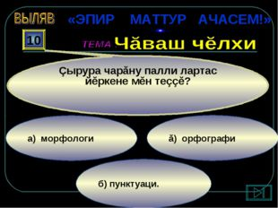 б) пунктуаци. ă) орфографи а) морфологи 10 Çырура чарăну палли лартас йĕркене