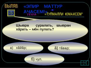 б) чул. ă) тăвар; а) хăйăр; 30 Шывра çуралать, шывран хăрать – мĕн пулать? «Э