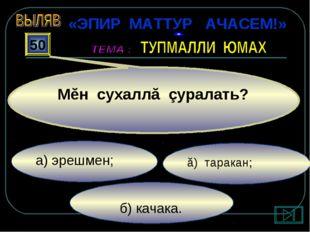 б) качака. ă) таракан; а) эрешмен; 50 Мĕн сухаллă çуралать? «ЭПИР МАТТУР АЧА
