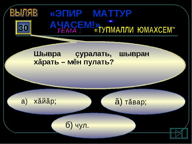 б) чул. ă) тăвар; а) хăйăр; 30 Шывра çуралать, шывран хăрать – мĕн пулать? «Э...