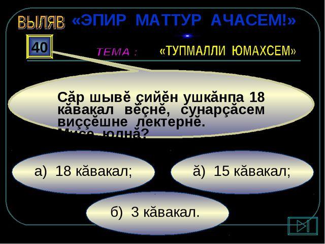 б) 3 кăвакал. ă) 15 кăвакал; а) 18 кăвакал; 40 Сăр шывĕ çийĕн ушкăнпа 18 кăва...