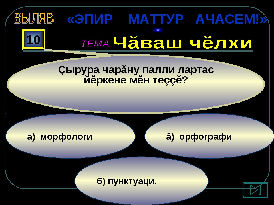 б) пунктуаци. ă) орфографи а) морфологи 10 Çырура чарăну палли лартас йĕркене...