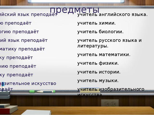 предметы Английский язык преподаёт Химию преподаёт Биологию преподаёт Русский...