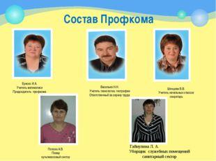 Состав Профкома Ереско И.А. Учитель математики Председатель профкома Васильев