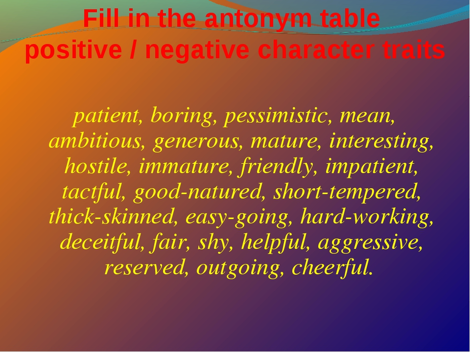 Fill in the antonym table positive / negative character traits patient, borin...
