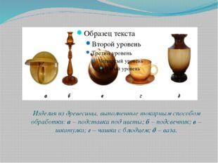 Изделия из древесины, выполненные токарным способом обработки: а – подставка