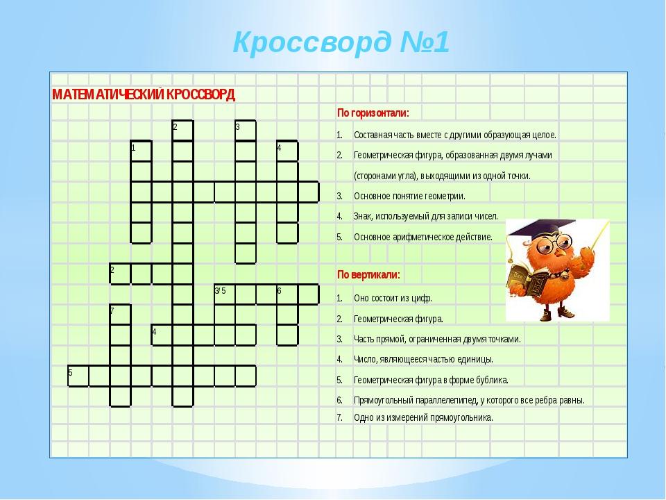 Кроссворд по математике 6 класс с ответами 10 слов