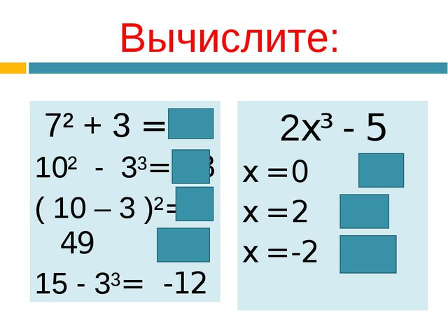 Вычислите: 7² + 3 = 52 10² - 3³= 73 ( 10 – 3 )²= 49 15 - 3³= -12 2x³ - 5 x =...