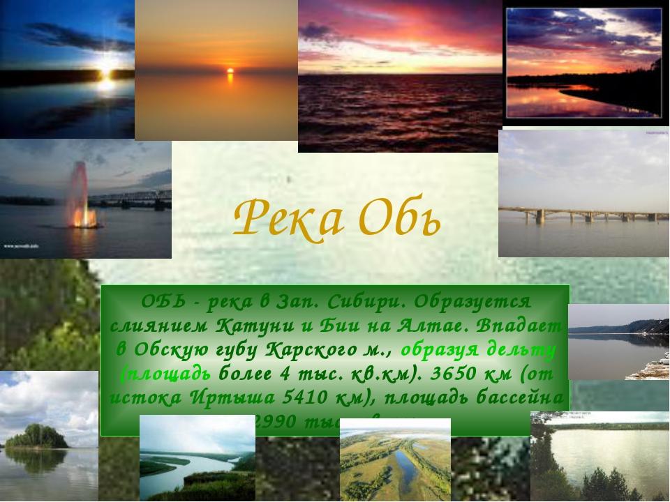 Река Обь ОБЬ - река в Зап. Сибири. Образуется слиянием Катуни и Бии на Алтае....