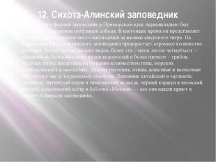 12. Сихотэ-Алинский заповедник Крупный биосферный заповедник в Приморском кра