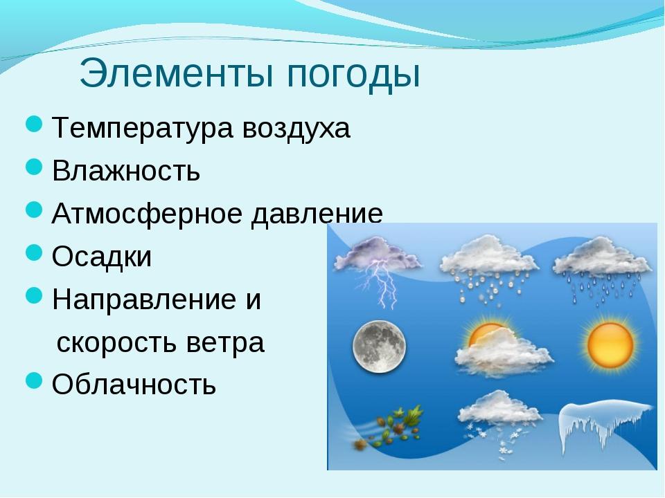 Элементы погоды Температура воздуха Влажность Атмосферное давление Осадки На...
