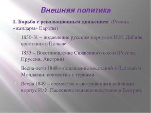 Внешняя политика 1. Борьба с революционным движением (Россия – «жандарм» Евро