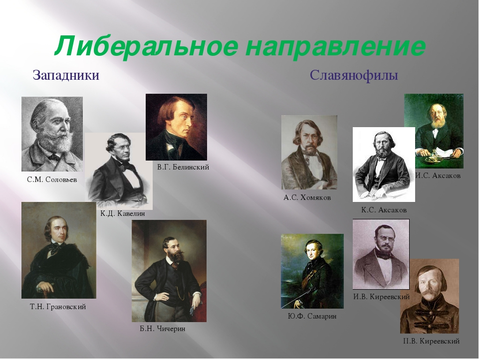 Либеральное направление Западники Славянофилы С.М. Соловьев В.Г. Белинский Т....