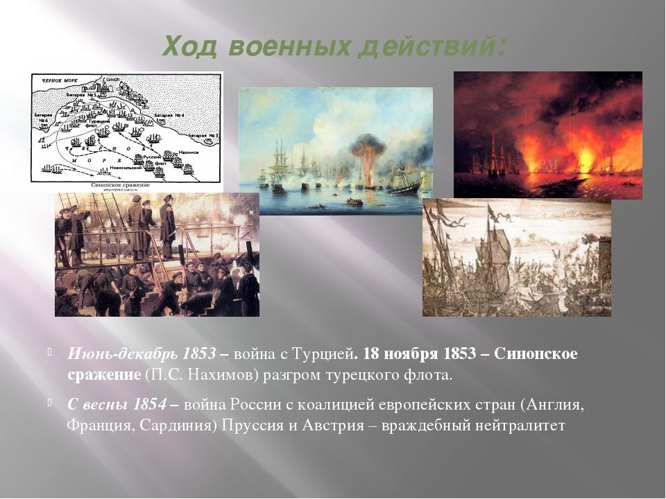 Ход военных действий: Июнь-декабрь 1853 – война с Турцией. 18 ноября 1853 – С...