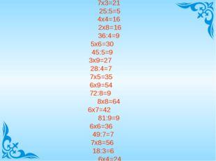 7х3=21 25:5=5 4х4=16 2х8=16 36:4=9 5х6=30 45:5=9 3х9=27 28:4=7 7х5=35 6х9=54